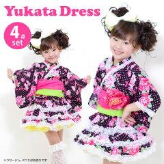 日本の女の子だから思い切りラブリーな和風ドレスで!再々入荷!子供浴衣ドレス「バラとネック...