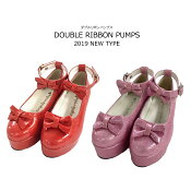 ダブルリボンパンプス子供靴18-24cmネコポス不可返品交換不可[M便1/0]