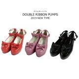 パンプス ダブルリボンパンプス 子供靴 靴 シューズ キッズ 女の子 かわいい 18cm 19cm 20cm 21cm 22cm 23cm 24cm ネコポス不可 返品交換不可