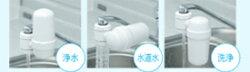 浄水器フードウォッシャーは水道水のカルキや鉄さび等を除去し、食物のビタミンCや栄養分を壊さない料理に適したお水にします。