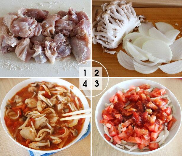 レンジで簡単おかず「チキンのトマト煮」