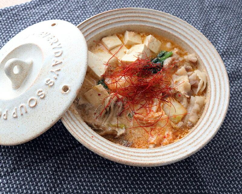 エブリデイスープポットとレンジで作る簡単鍋〜「豆乳キムチチゲ」