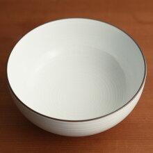 白磁千段(はくじせんだん) 6寸 浅めん丼