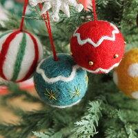 クリスマス フェルトオ-ナメント ボール