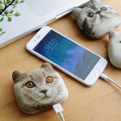 とってもリアルな猫フェイス!どこにでもつれていける猫顔モバイルバッテリー