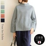 【MADE IN JAPAN】 ホールガーメント(R) 3種の編地のデザインニット/トゥ・レ・ゼクラ Tous les Eclats