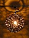 ラタン ペンダント ライト ボール ランプ ブラウン 直径 30cm 照明 アジアン バリ タイ 雑貨 ダウンライト お洒落 レトロ アンティーク