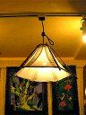 バンブーのペンダントランプ六角錐とサンダルウッドの枝ブラウン[横幅最大...