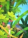 バリアート絵画L縦『森の小鳥達青羽バンブー』 アジアン 雑貨 バリ 雑...