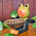 【あす楽対応】 木製 洋食器カエルに変装中 ココナッツのお皿を持ったバリネコさん 黒 【ネ...