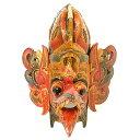 壁掛け 木彫りの『ガルーダ』レッド マスク 木製 お面[横約30cmx縦35cm] バリ島 アジアン バリ タイ 雑貨 アジアン インテリア