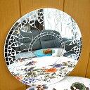 ◎丸い鏡で金運UP!?◎壁掛け バリモザイク・ミラー・鏡 S [D.30cm]丸型・白+鏡 太陽 【丸...
