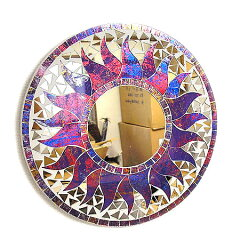5250円以上で送料無料!【あす楽対応】◎丸い鏡で金運UP!?◎壁掛け バリ モザイクミラー鏡 S...