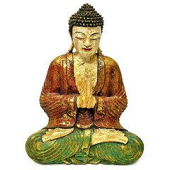 【あす楽対応】【送料無料】 木彫りの仏陀 アンティークゴールド カラー A 坐像  [H.32c...