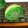 竹の蚊帳かご 手描き・楕円緑Sサイズ[32cmx21cm] アジアン 雑貨 バリ 雑貨 タイ 雑貨 アジアン インテリア