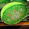 竹の蚊帳かご 手描き・楕円緑Lサイズ[43cmx29cm] アジアン 雑貨 バリ 雑貨 タイ 雑貨 アジアン インテリア