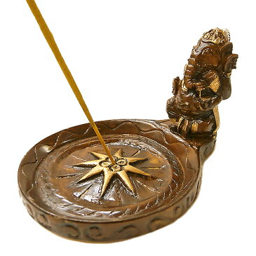 ガネーシャのお香たて皿つき ゴールドブラウン インセンススタンド アジアン 雑貨 バリ 雑貨 タイ 雑貨 アジアン インテリア