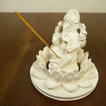 蓮の上のガネーシャ お香たて ホワイト インセンス アロマセット アジアン 雑貨 バリ 雑貨 タイ 雑貨 アジアン インテリア