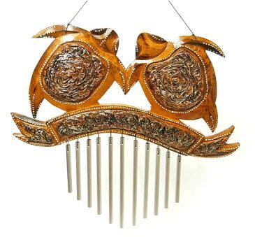 ドアチャイム 風鈴 ウィンドーチャイム 木製 亀 シルバー スチールパイプ 音色 楽器 インテリア アジアン バリ タイ カメ 雑貨