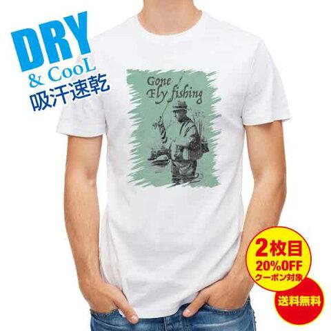 おもしろ Tシャツ フライフィッシングとレインコート 釣り 魚 ルアー T シャツ メンズ 半袖 ロゴ 文字 春 夏 秋 インナー 安い 面白い 大きいサイズ 洗濯 ポリエステル 送料無料
