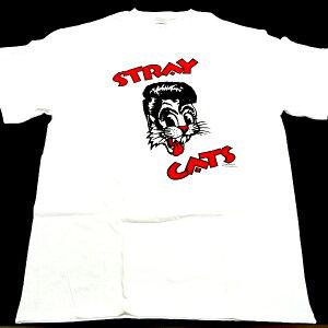 ストレイキャッツ!激レアオフィシャルTシャツ!ホワイトSTRAY CATS ストレイキャッツ2 LINE WHI...
