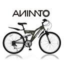 【ANIMATOアニマート】 MTB SANDPIPER(サンドパイパー) 26インチ マウンテンバイク Wサスペンション 街乗り 通勤 シマノ18段変速 【軽量アルミフレーム】