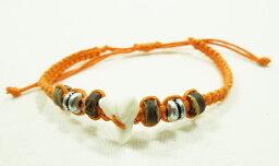 【メール便対応送料無料】サメの歯が編み込まれたミサンガ Made in Bali #オレンジ 【10P03Sep16】