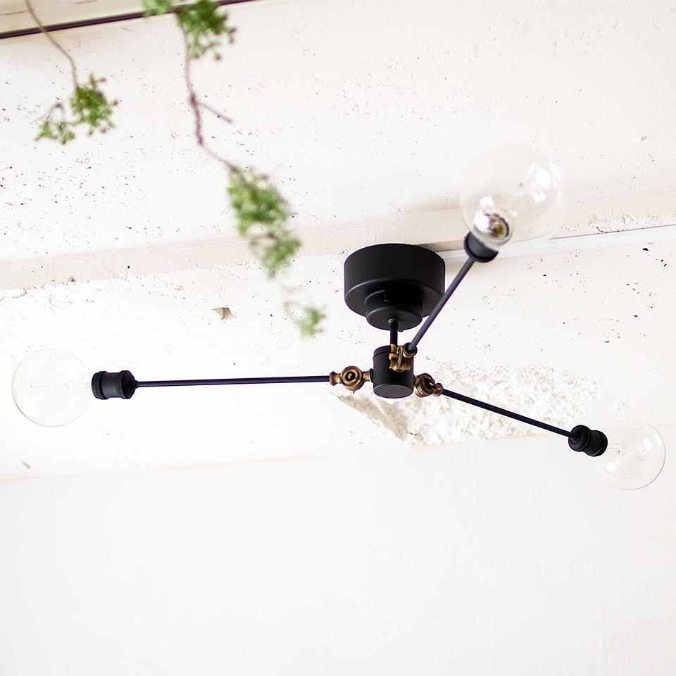 シーリングライト 3灯 GORDON(ゴードン) おしゃれ 照明 電気 ライト スポットライト 間接照明 西海岸 カリフォルニア 北欧 インダストリアル 男前 ブルックリン ダイニング LED電球 天井 照明器具 調光 led リビング 寝室 子供部屋 キッチン