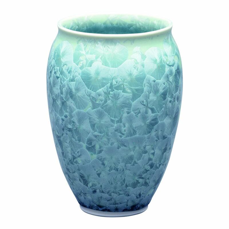 仏壇用花瓶 清水焼花瓶 【 花結晶 肩丸花生 緑 】 高さ14.5cm