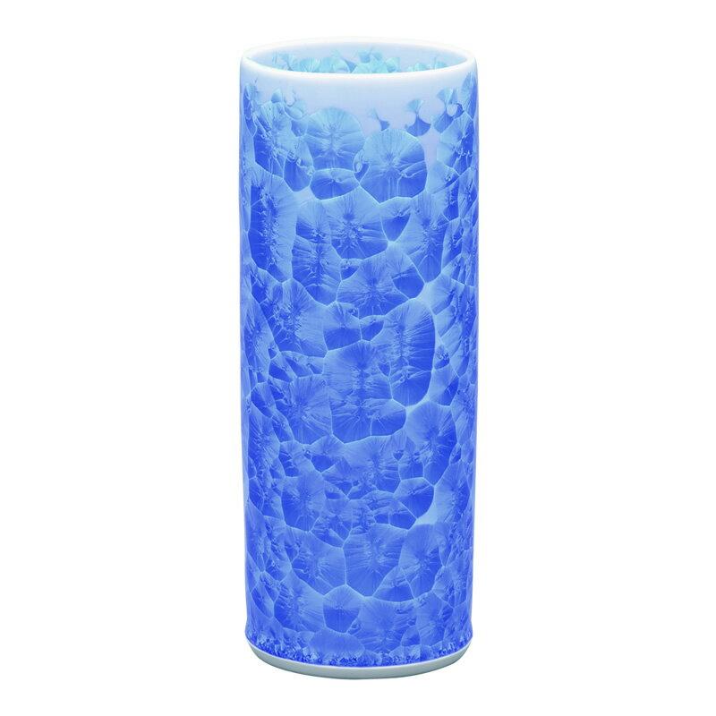 仏壇用花瓶 清水焼花瓶 【 花結晶 切立型花生 青 】 高さ22.7cm