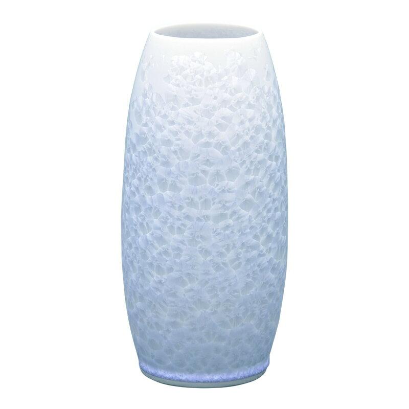 仏壇用花瓶 清水焼花瓶 【 花結晶 縦長花生 白 】 高さ22.4cm