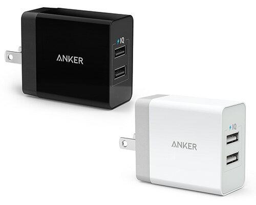急速充電器Anker24W2ポートUSB急速充電器【PowerIQ&VoltageBoost折畳式プラグ搭載/海外対応アダプタ】(ホワイト・ブラック)
