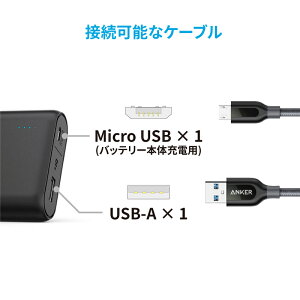 AnkerPowerCore10000(10000mAh世界最小最軽量*大容量コンパクトモバイルバッテリー)iPhone/iPad/Xperia/Android各種スマホ対応【急速充電技術PowerIQ搭載】2.4A出力充電器