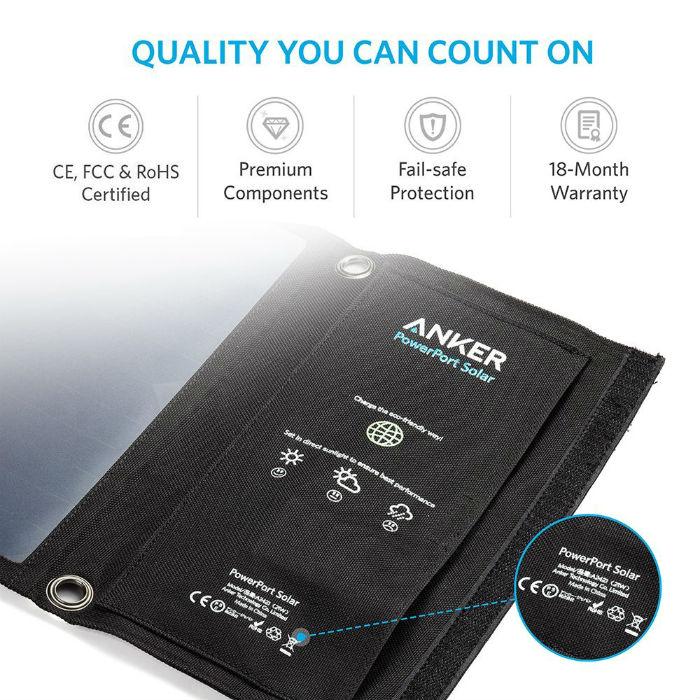 Anker PowerPort Solar ソーラーチャージャー(21W 2ポート USB )【PowerIQ搭載】