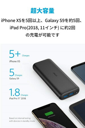 AnkerPowerCore20000Redux(20000mAh超大容量モバイルバッテリー)【PSE認証済/PowerIQ搭載/低電流モード搭載】iPhone&Android各種対応