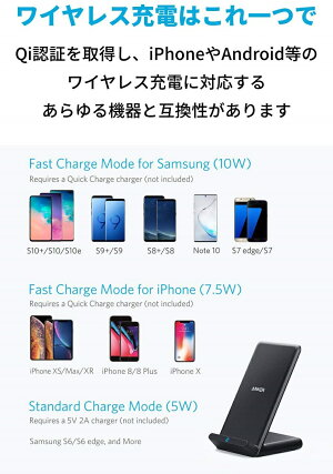 AnkerPowerWave10Stand(改善版)ワイヤレス充電器Qi認証iPhone11/11Pro/11ProMax/XS/XSMax/XR/X/8/8PlusSamsungGalaxyLG対応5W&7.5W&10W出力ブラック