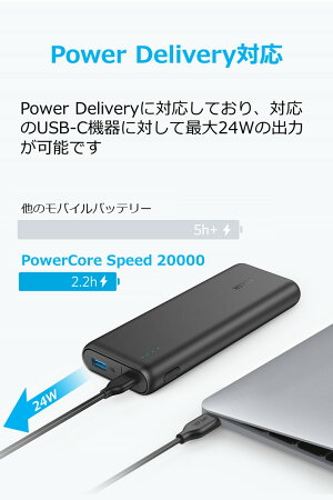 AnkerPowerCoreSpeed20000PD(最軽量PowerDelivery対応20100mAhモバイルバッテリー)【USB-C急速充電器付属】iPhone&Android対応*2017年12月時点