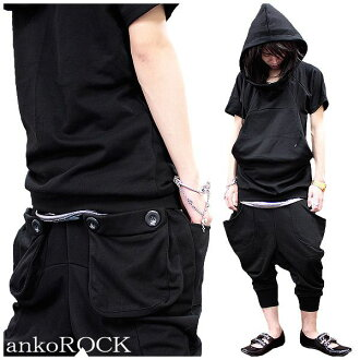 Black ankle pants アンコロック Street ankoROCK ネオモード Setup / men's women's harem pants ladies down set short sleeve Jersey big Parker short sleeve flashy sarrouel pants dance costume black shorts sweatshirts sweatpants 7-1