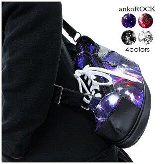 ankoROCK安共鎖頭挎包人挎包女士挎包男女兩用包宇宙花紋包紫紅黑黑色白白