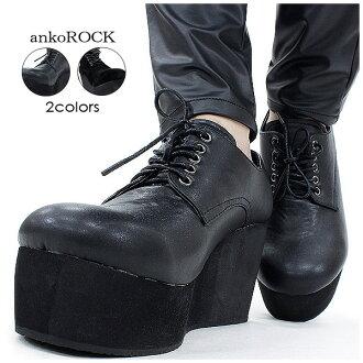 ankoROCK 瑞典人腳跟鞋楔-/ 男裝楔唯一女士厚度底靴浮華的厚底鞋獨特牛津鞋厚度底部皮革鞋禮服鞋楔唯一麂皮鞋麂皮絨厚底鞋皮革黑 angkorock