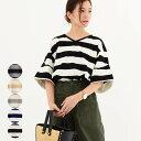 レディース ファッション 40代 30代 春 トップス Tシャツ ボーダー カジュアル Vネック 体形カバー ゆったり 半袖 ボリューム袖