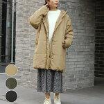 アンルルレディースファッションゆったり40代30代秋冬アウターコート中綿ロングコートフードカジュアルシンプルベーシック