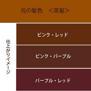 カラートリートメントピンク系セットを明るい髪に使用した場合の仕上がりイメージ