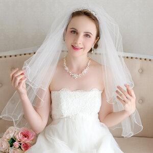 412d579295e64  ふわふわシルエット花嫁  可愛さアップのショートベール ふわりメロー・パール付き ショート ベールホワイト 2色 オフホワイト アイボリー  ウエディング  ...