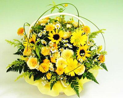 ひまわり バラ黄色のキラキラアレンジ【デザイナーズオーダーフラワー】還暦祝いお中元 向日葵 ヒマワリ【生花 アレンジ】