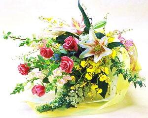 【季節のお花・花束】バラとユリの爽やかな花束 敬老の日