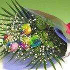 虹色のバラレインボーローズ-5本の花束