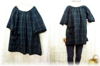 預訂銷售 ! 檢查 & 罩衫束腰連衣裙 M-5 L-日本