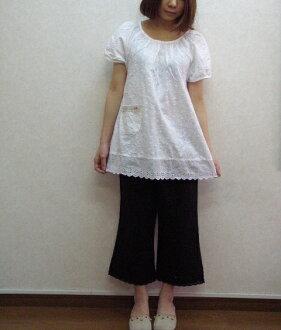 預訂銷售! 感覺舒適、 柔軟的棉蕾絲罩衫束腰外衣 M-(free) 日本製造的