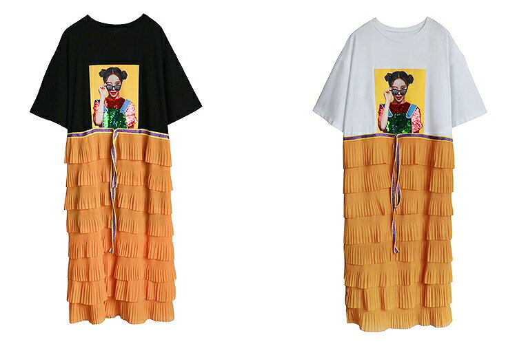 ワンピース マキシワンピ セットアップ風 フリルロングスカート